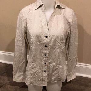 Talbots Button Down Blouse Size 12P Striped